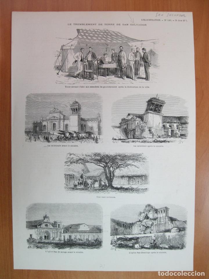 ESCENAS TRAS EL TERREMOTO DE 1873 EN LA CIUDAD DE SAN SALVADOR ( EL SALVADOR,AMÉRICA CENTRAL), 1873 (Arte - Grabados - Modernos siglo XIX)