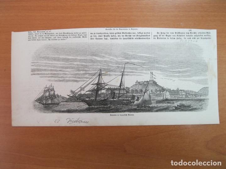 EMBARCACIONES FRENTE A LA CIUDAD Y PUERTO DE CAYENA EN LA GUAYANA FRANCESA (AMÉRICA DEL SUR), 1852 (Arte - Grabados - Modernos siglo XIX)