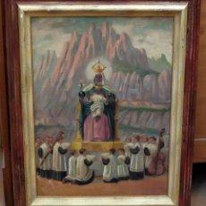 Arte: ESCUELA CATALANA DE FINALES DEL SIGLO XIX. OLEO SOBRE TELA. LA ESCOLANIA DE MONTSERRAT Y LA MORENETA. Lote 80187085