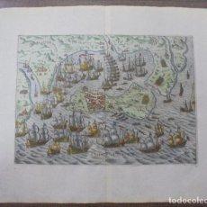 Arte: GRABADO EN COBRE COLOREADO A MANO. 1610. ASEDIO DE CADIZ, 1596. 34 X 41,5 CM. Lote 80546874