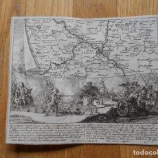 Arte: GRABADO EN COBRE BATALLA DE ZARAGOZA 1710 , GUERRA DE SUCESION ESPAÑOLA, PETER SCHENK ORIGINAL. Lote 80715094
