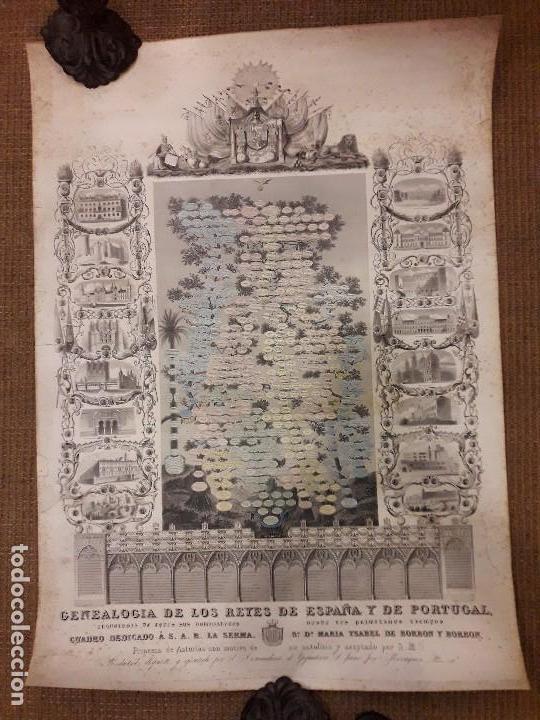 GRABADO GENEALOGIA DE LOS REYES DE ESPAÑA Y DE PORTUGAL 1854 JAIME JOSE MORAGUES (Arte - Grabados - Modernos siglo XIX)
