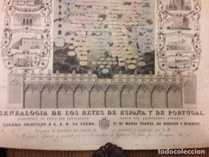 Arte: GRABADO GENEALOGIA DE LOS REYES DE ESPAÑA Y DE PORTUGAL 1854 JAIME JOSE MORAGUES - Foto 3 - 81270748