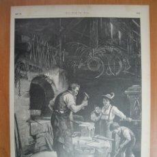 Herrero y niños en taller metalúrgico alemán, 1897