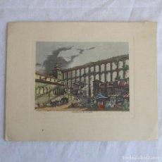 Arte: GRABADO COLOREADO DEL ACUEDUCTO DE SEGOVIA. I.G. OLIVA. FELICITACIÓN NAVIDEÑA. Lote 82327888