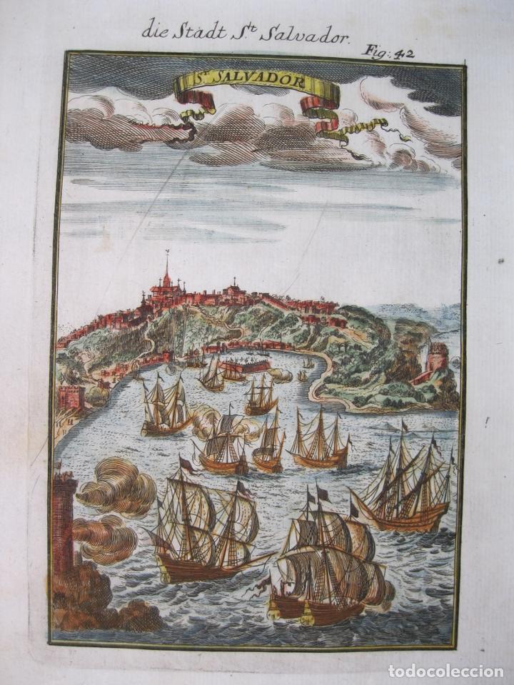 VISTA DE LA CIUDAD DE SAN SALVADOR DE BAHIA (BRASIL), 1685. MALLET (Arte - Grabados - Antiguos hasta el siglo XVIII)