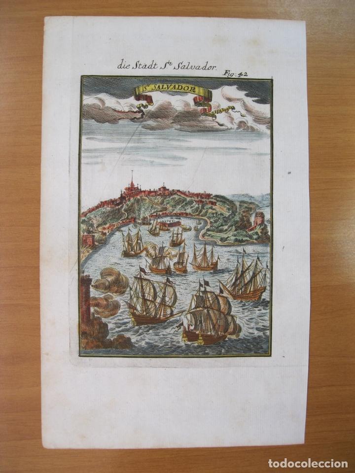 Arte: Vista de la ciudad de San Salvador de Bahia (Brasil), 1685. Mallet - Foto 2 - 83327500