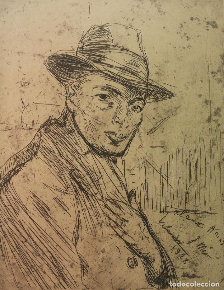GRABADO DE JOSEP AMAT PAGÈS, REALIZADO POR JOAQUIM MIR TRINXET. 1928 (Arte - Grabados - Contemporáneos siglo XX)