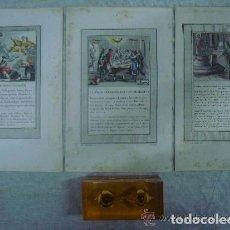 Arte: 3 GRABADOS DEL ANTIGUO TESTAMENTO ILUMINADOS A MANO. SIGLO XVIII. 22 X 14 CM.. Lote 84657812