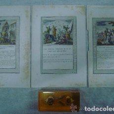 Arte: 3 GRABADOS DEL ANTIGUO TESTAMENTO ILUMINADOS A MANO. SIGLO XVIII. 22 X 14 CM.. Lote 84658052