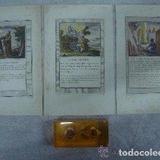 Arte: 3 GRABADOS DEL ANTIGUO TESTAMENTO ILUMINADOS A MANO. SIGLO XVIII. 22 X 14 CM.. Lote 84658308