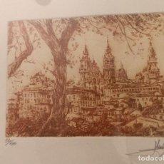Arte: CATEDRAL SANTIAGO, GRABADO HUELLA 12X9, MARCO 43X43, AÑO 93. Lote 85030036