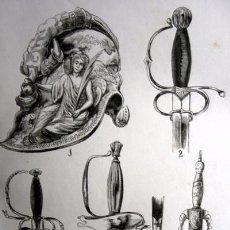 Arte: ANTIGÜEDADES - ESPADAS - CASCO - GRABADO ORIGINAL DE 1856 - 240X150MM. Lote 85152988