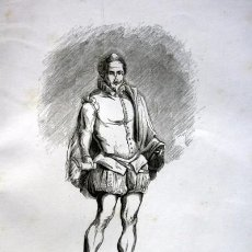 Arte: CERVANTES - GRABADO ORIGINAL DE 1856 - 210X140MM. Lote 85185736