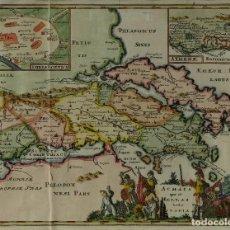 Arte: GRABADO COLOREADO MAPA DE ATLAS PELOTÓN NESI PARS SIGLO XVIII. Lote 85225072
