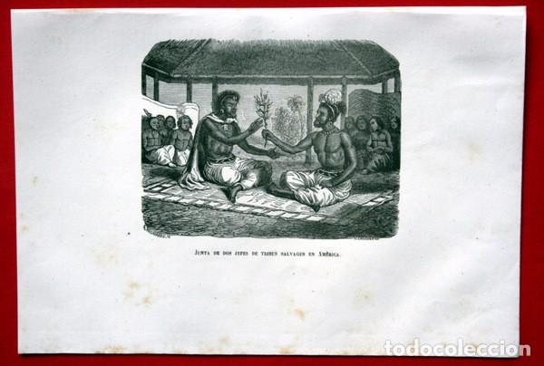 JUNTA DE DOS JEFES DE TRIBUS SALVAJES EN AMERICA - GRABADO ORIGINAL DE 1856 - 220X150MM (Arte - Grabados - Modernos siglo XIX)
