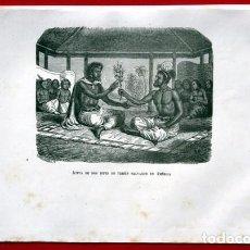 Arte: JUNTA DE DOS JEFES DE TRIBUS SALVAJES EN AMERICA - GRABADO ORIGINAL DE 1856 - 220X150MM. Lote 85249504