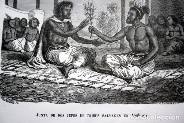Arte: JUNTA DE DOS JEFES DE TRIBUS SALVAJES EN AMERICA - GRABADO ORIGINAL DE 1856 - 220x150mm - Foto 4 - 85249504