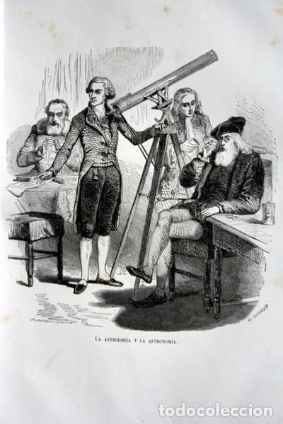 LA ASTROLOGIA Y LA ASTRONOMIA - GRABADO ORIGINAL DE 1856 - 240X150MM (Arte - Grabados - Modernos siglo XIX)
