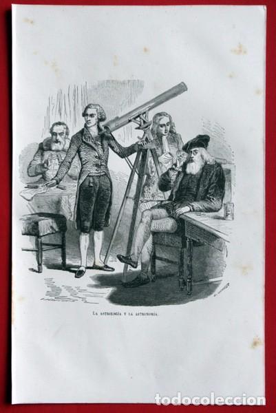 Arte: LA ASTROLOGIA Y LA ASTRONOMIA - GRABADO ORIGINAL DE 1856 - 240x150mm - Foto 2 - 85314140