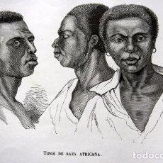 Arte: TIPOS DE RAZA AFRICANA - GRABADO ORIGINAL DE 1856 - 240X150MM. Lote 85314408
