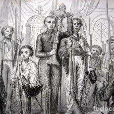 Arte: REVOLUCION 1848 - CRUCIFIJO VICTOREADO EN TULLERIAS - GRABADO ORIGINAL DE 1856 - 240X150MM. Lote 85315440