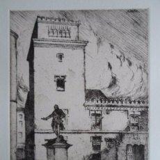 Arte: ENRIQUE BRAÑEZ DE HOYOS (MADRID 1892-1963) GRABADO TORRE DE LOS LUJANES Y ESTATUA D AURELIO DE BAZÁN. Lote 85359104