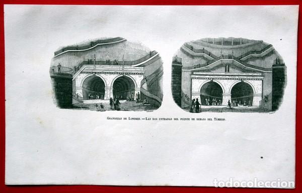 ENTRADAS DEL PUENTE DEBAJO DEL TAMESIS - LONDRES - GRABADO ORIGINAL DE 1856 - 240X150MM (Arte - Grabados - Modernos siglo XIX)