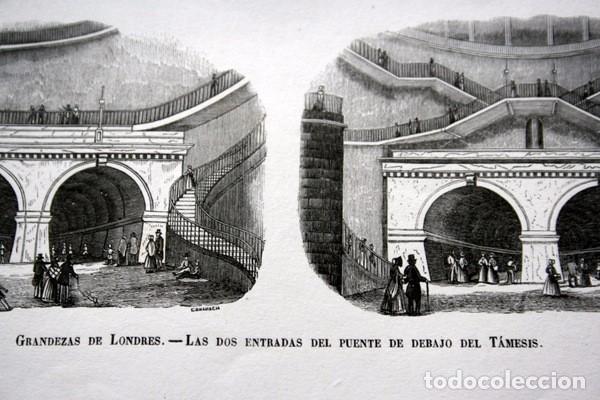 Arte: ENTRADAS DEL PUENTE DEBAJO DEL TAMESIS - LONDRES - GRABADO ORIGINAL DE 1856 - 240x150mm - Foto 2 - 85372532