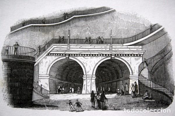 Arte: ENTRADAS DEL PUENTE DEBAJO DEL TAMESIS - LONDRES - GRABADO ORIGINAL DE 1856 - 240x150mm - Foto 3 - 85372532