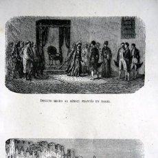 Arte: ARGEL - FRANCIA - INSULTO AL CONSUL FRANCES - ENTRADA EN ARGEL - GRABADO ORIGINAL DE 1856 - 240X150. Lote 85373100