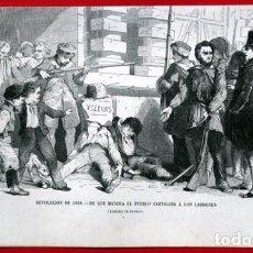 Arte: REVOLUCION 1830 - PUEBLO CASTIGA A LADRONES - GRABADO ORIGINAL DE 1856 - 240X150MM. Lote 85373340