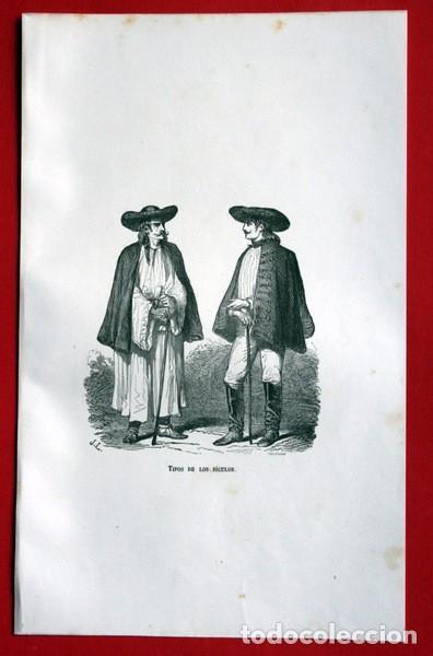 Arte: TIPOS DE LOS SICULOS - GRABADO ORIGINAL DE 1856 - 240x148mm - Foto 2 - 85375240