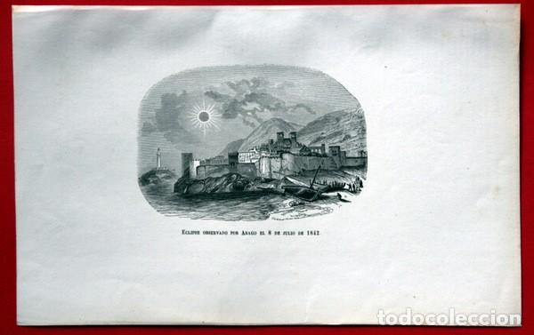 Arte: ECLIPSE OBSERVADO POR ARAGO EL 8 DE JULIO DE 1842 - GRABADO ORIGINAL DE 1856 - 240x152mm - Foto 2 - 85381492