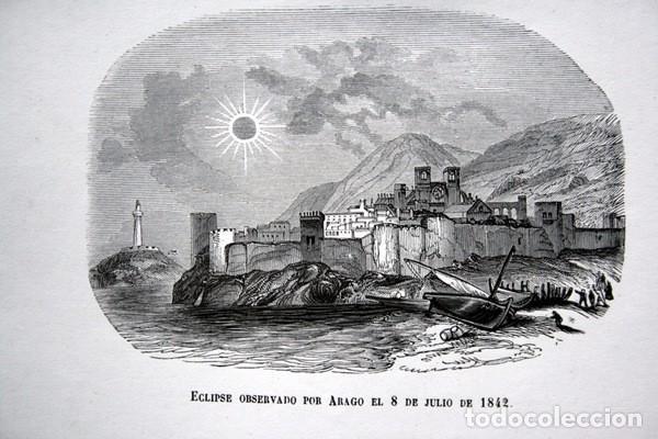 Arte: ECLIPSE OBSERVADO POR ARAGO EL 8 DE JULIO DE 1842 - GRABADO ORIGINAL DE 1856 - 240x152mm - Foto 3 - 85381492