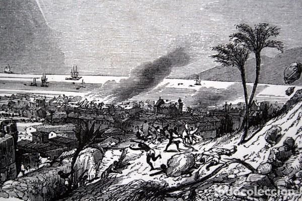 TERREMOTO 8 FEBRERO 1843 EN LA GUADALUPE - CARIBE - GRABADO ORIGINAL DE 1856 - 240X148MM (Arte - Grabados - Modernos siglo XIX)