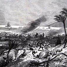 Arte: TERREMOTO 8 FEBRERO 1843 EN LA GUADALUPE - CARIBE - GRABADO ORIGINAL DE 1856 - 240X148MM. Lote 85381732