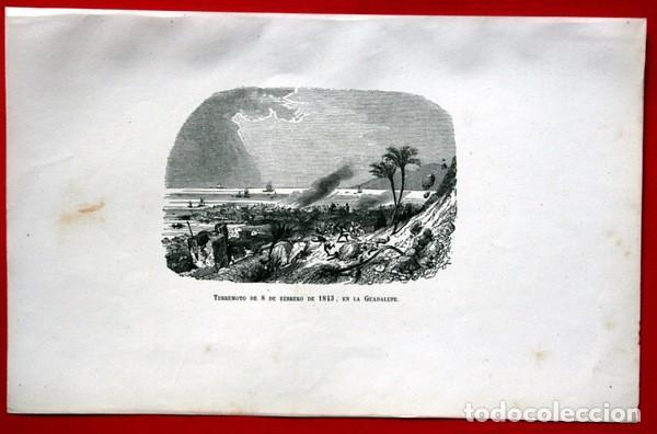 Arte: TERREMOTO 8 FEBRERO 1843 EN LA GUADALUPE - CARIBE - GRABADO ORIGINAL DE 1856 - 240x148mm - Foto 2 - 85381732