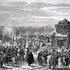 Arte: LAS CENIZAS DE NAPOLEON I RECIBIDAS DE LOS INVALIDOS - GRABADO ORIGINAL DE 1856 - 240X154MM. Lote 85412468
