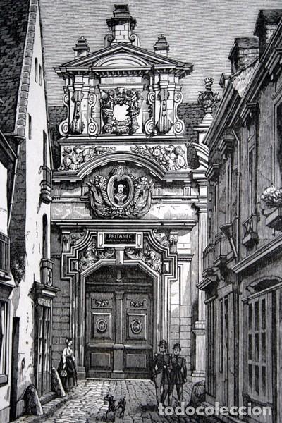 PRITANEO IMPERIAL MILITAR - LA FLECHE - FRANCIA - GRABADO ORIGINAL DE 1856 - 229X133MM (Arte - Grabados - Modernos siglo XIX)