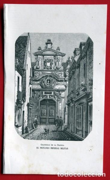 Arte: PRITANEO IMPERIAL MILITAR - LA FLECHE - FRANCIA - GRABADO ORIGINAL DE 1856 - 229x133mm - Foto 2 - 85424336