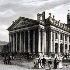 Arte: BOLSA Y ESTATUA DE WELLINGTON - LONDRES - GRABADO ORIGINAL DE 1856 - 240X150MM. Lote 85425008