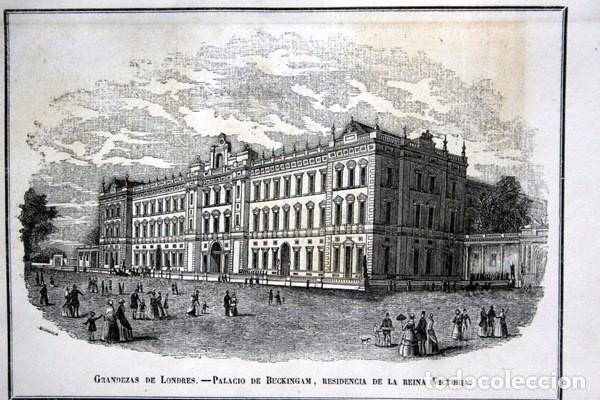 PALACIO DE BUCKINGHAM - GRABADO ORIGINAL DE 1856 - 240X154MM (Arte - Grabados - Modernos siglo XIX)