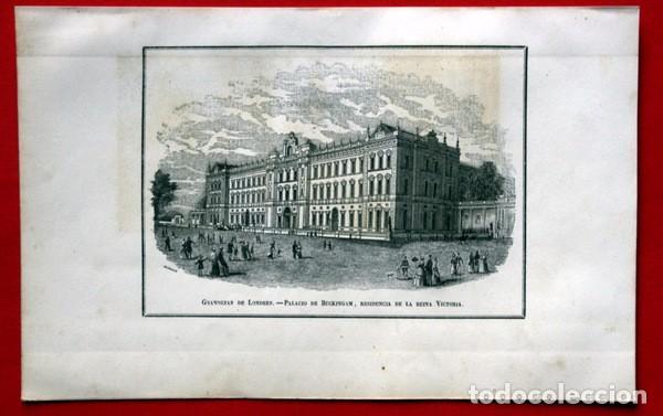 Arte: PALACIO DE BUCKINGHAM - GRABADO ORIGINAL DE 1856 - 240x154mm - Foto 2 - 85426380