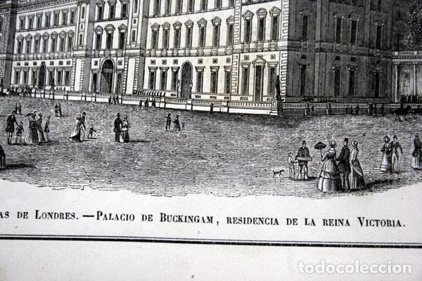 Arte: PALACIO DE BUCKINGHAM - GRABADO ORIGINAL DE 1856 - 240x154mm - Foto 4 - 85426380