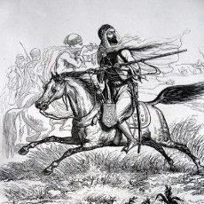 Arte: LA CABALLERIA DE ABD - EL KADER - GRABADO ORIGINAL DE 1856 - 240X153MM. Lote 85429792