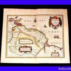 Arte: PRECIOSO MAPA ANTIGUO DE LA GUAYANA BRASILEÑA COLOREADO A MANO. JANSSONIUS-HONDIUS. HOLANDA, 1638. Lote 85483504