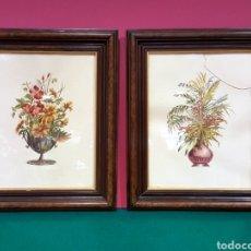Arte: PAREJA DE GRABADOS ENMARCADOS DE BODEGONES DE FLORES.. Lote 85533660