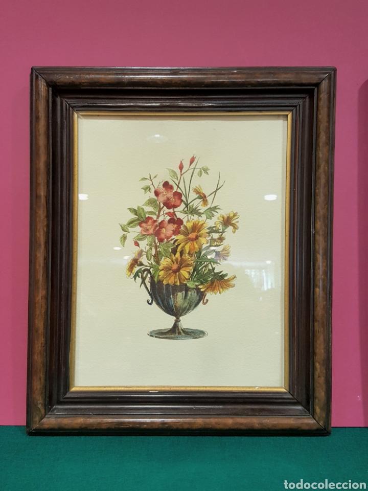 Arte: Pareja de grabados enmarcados de bodegones de flores. - Foto 2 - 85533660