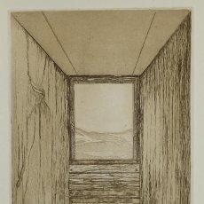 Arte: EUGENIA CIURÓ GRABADO AL AGUAFUERTE PRUEBA DE ARTISTA INTERIOR CON VENTANA 1974 FIRMADO A LÁPIZ. Lote 85538972